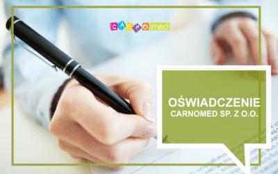 Oświadczenie Carnomed sp. z o.o